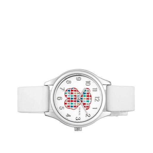 Rellotge Tartan Kids d'acer amb corretja de silicona blanca