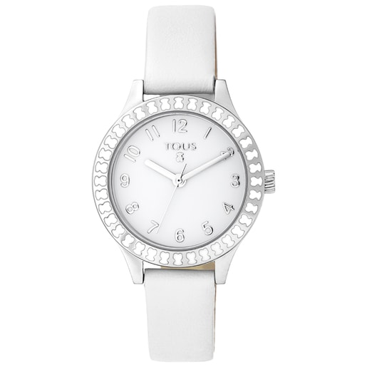 Steel Straight Kids Watch with bear bezel and white Leather strap