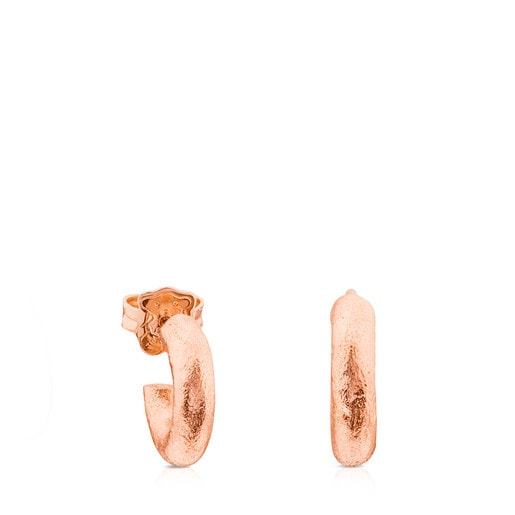 Brincos Duna Tube em Prata Vermeil rosa