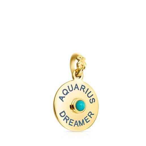Anhänger TOUS Horoscopes Aquarius aus Vermeil-Silber mit Türkis