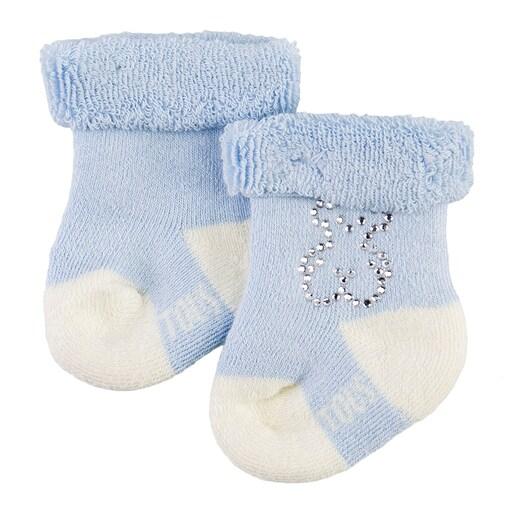 Conjunto de peúgas Urso strass Sweet Azul Celeste