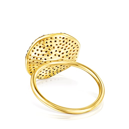 Large Silver Vermeil Nenufar Ring with Diamonds
