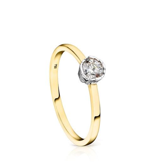 Anillo Boca Osos de Oro y Diamantes motivo Oso