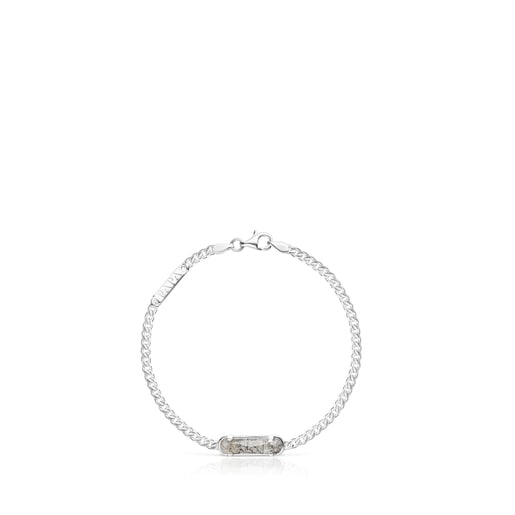 Silver TOUS Papa Bracelet with Tourmalinated quartz