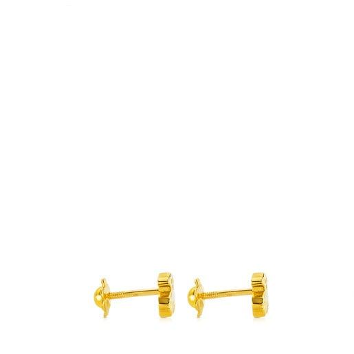 Gold Puppies Earrings Bear motif