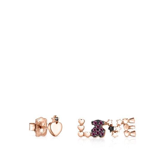 Boucles d'oreilles San Valentín cœur & love en Or Vermeil rose avec Rubis et Spinelle