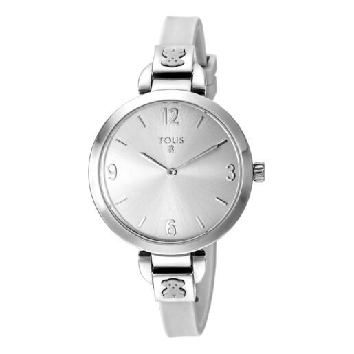 Reloj Bohème de acero con correa de silicona blanca