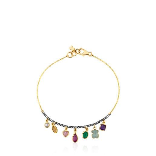 Gold and Silver Gem Power Bracelet with seven multicolor Gemstones
