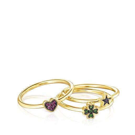 Set of Silver Vermeil Teddy Bear Stars Rings with Gemstones