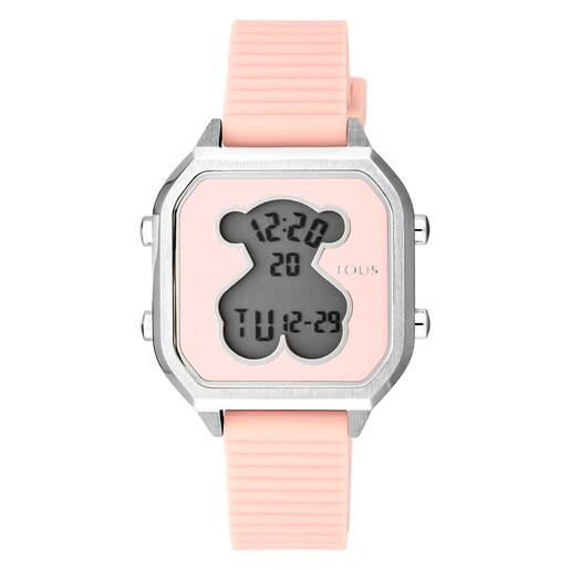 Relógio D-Bear Teen em Aço com correia de Silicone rosa