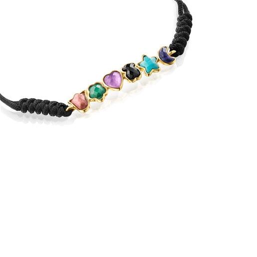 Pulsera de plata vermeil con gemas y cordón negro Glory