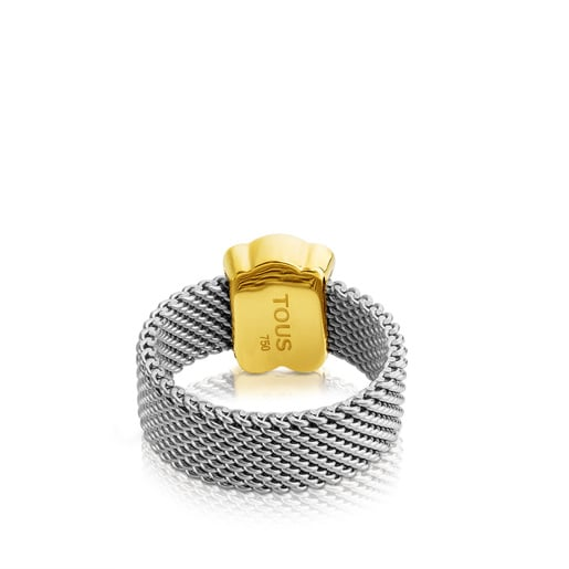 Steel and Gold TOUS Mesh Ring 0,7cm