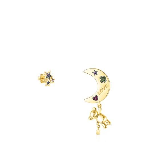 Pendientes corto/largo Teddy Bear Stars luna de plata vermeil y gemas