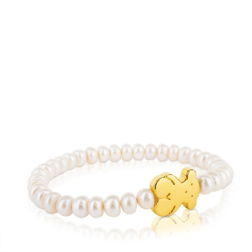 Gold Sweet Dolls Bracelet with pearls and big Bear motif