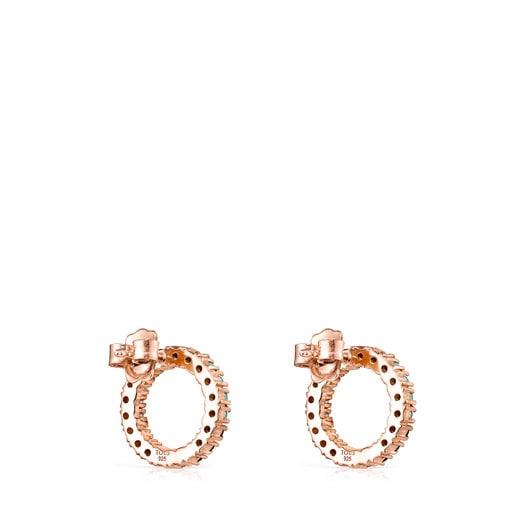 Brincos grandes Straight disco em Prata Vermeil rosa com Pedras Preciosas