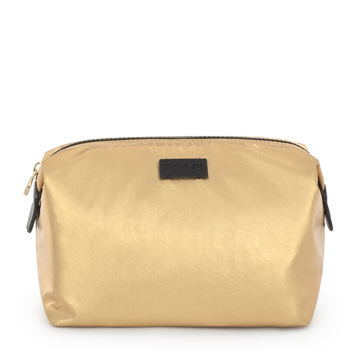 Large gold Pleat Up toiletry bag