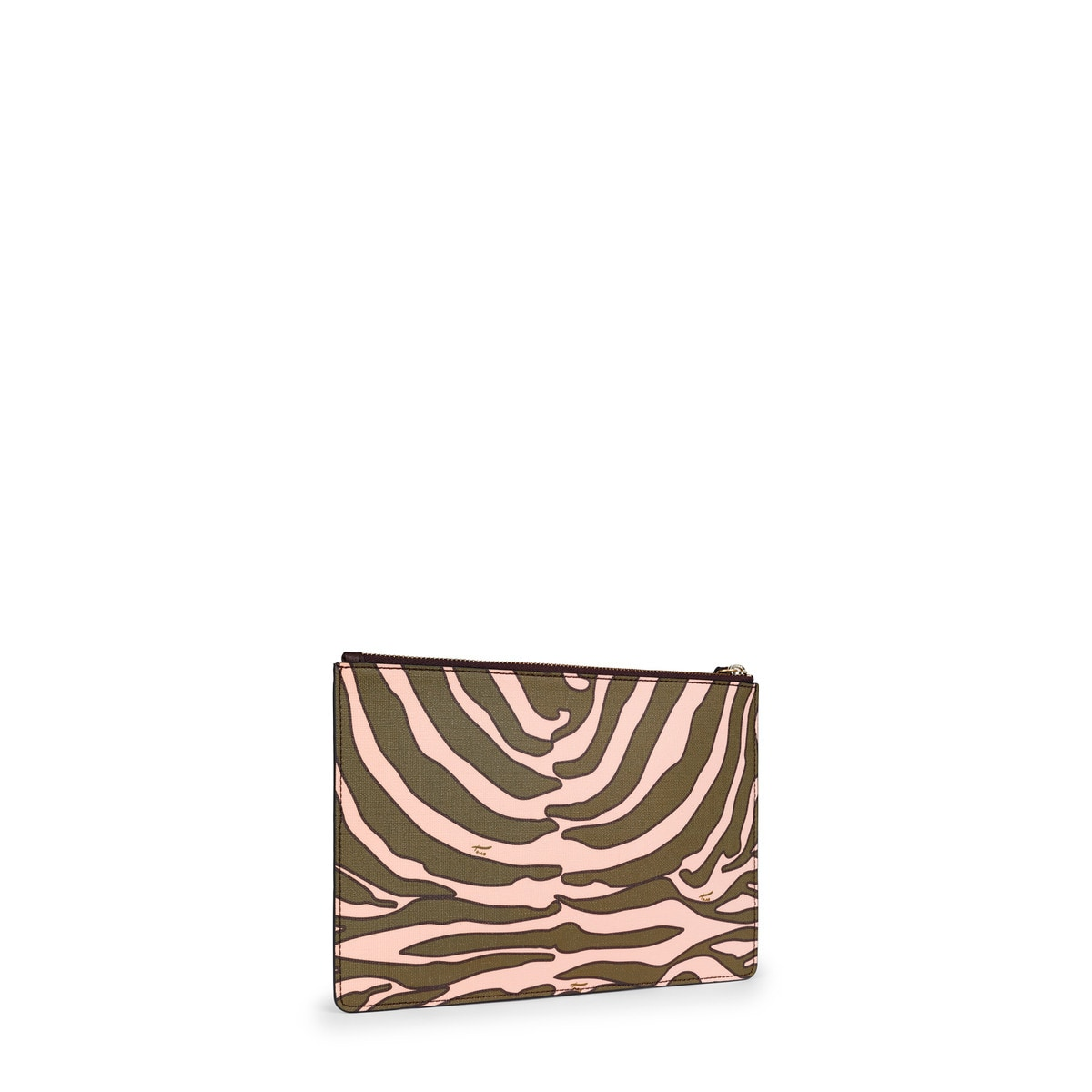 Khaki-pink colored Canvas Lia Clutch bag