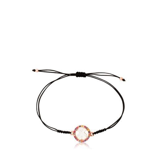 Armband Camille aus rosa Vermeil-Silber mit Perlmutt und mehrfarbigem Saphir