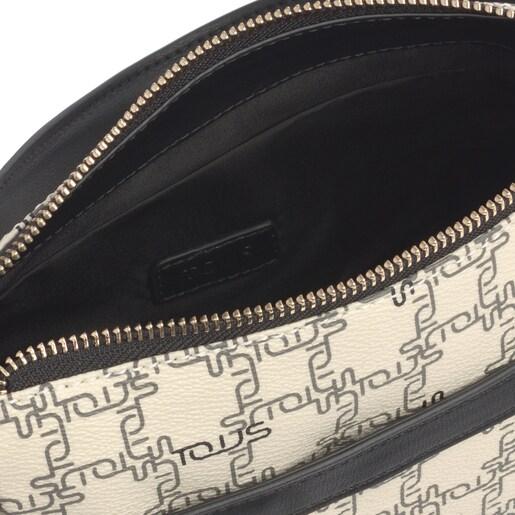 Μίνι μπεζ-μαύρη τσάντα Ώμου TOUS Logogram