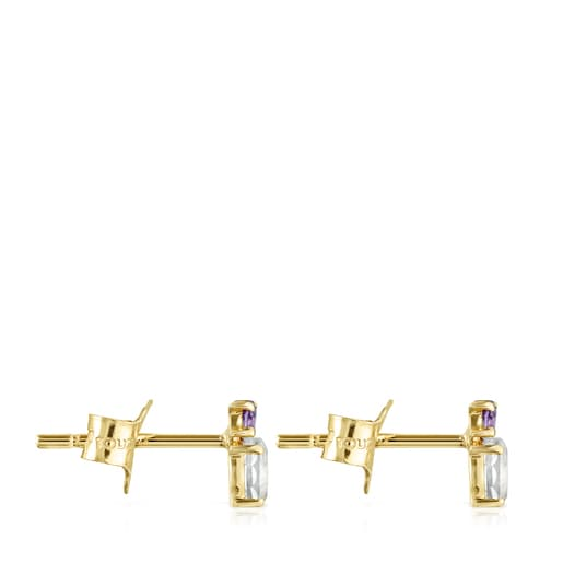Pendientes Mini Ivette de Oro con Prasiolita y Amatista