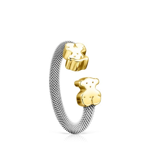 Steel and Gold TOUS Mesh Ring 0,7cm.