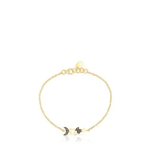 Armband Nocturne aus Vermeil-Silber mit Diamanten-Anhängern