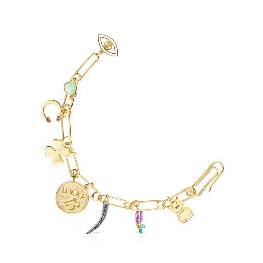 Bracelet TOUS Good Vibes clips en Argent Vermeil et Pierres précieuses