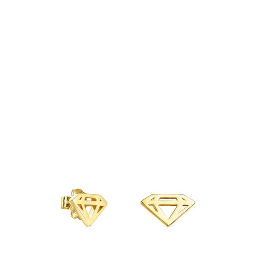 Σκουλαρίκια-διαμάντι Job από Ασήμι Vermeil
