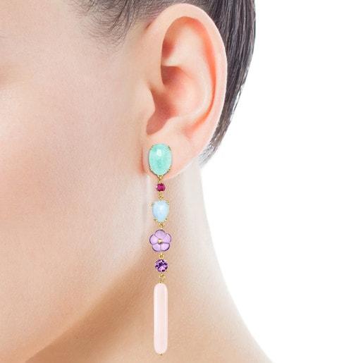 Boucles d'oreilles longues Vita en Or avec Pierres précieuses