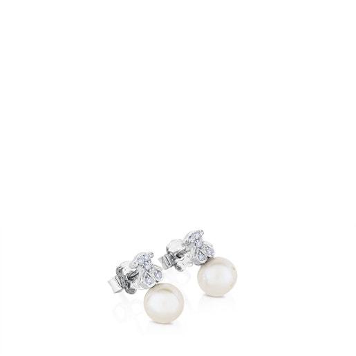 Pendientes Puppies botón de Oro blanco, perlas y diamantes