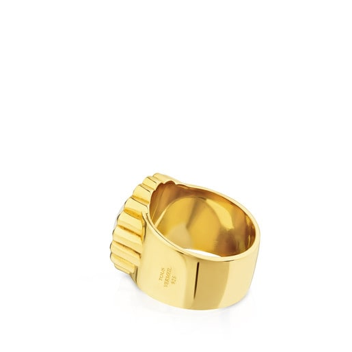 Vermeil Silver Sky Power Ring with Mother-of-pearl and Spinels
