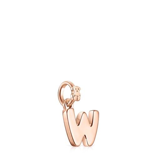 Pendentif Alphabet lettreW en Or Vermeil rose