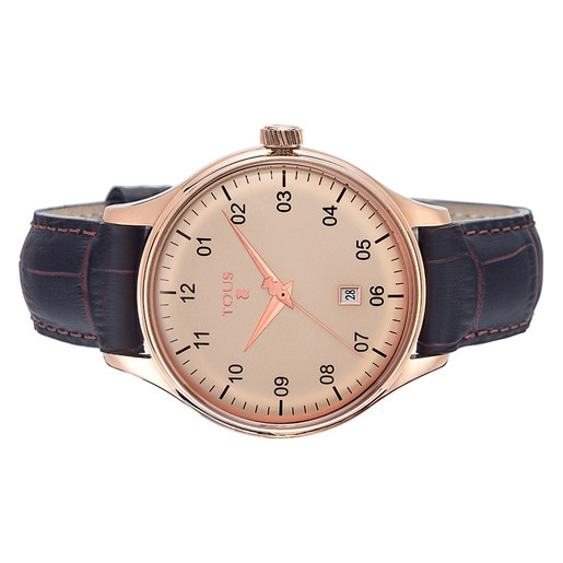 Pink IP Steel 1920 Watch with brown Leather strap