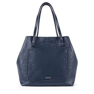 Large navy colored Leather Mossaic Tote bag