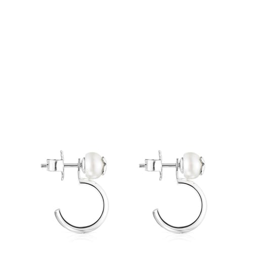 Silver and Pearl Icon Pearl Earrings