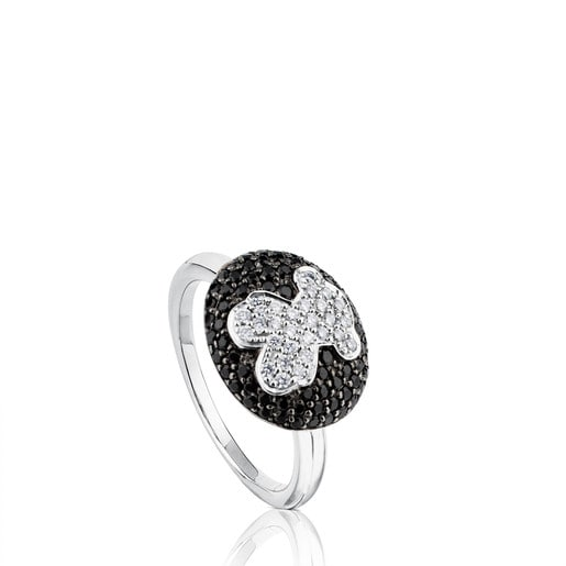 White Gold TOUS Bear Ring with Diamond and Spinel