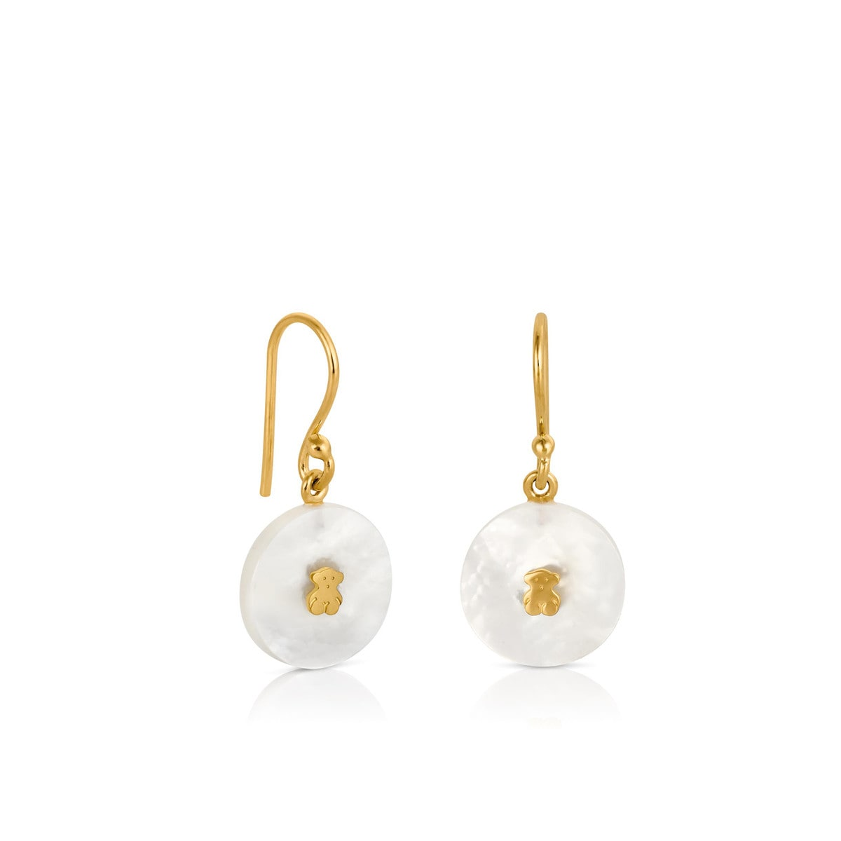 Gold Yuan Earrings with Mother of Pearl