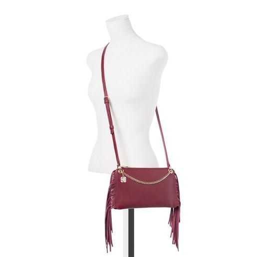 Burgundy leather New Liz Fringes crossbody bag