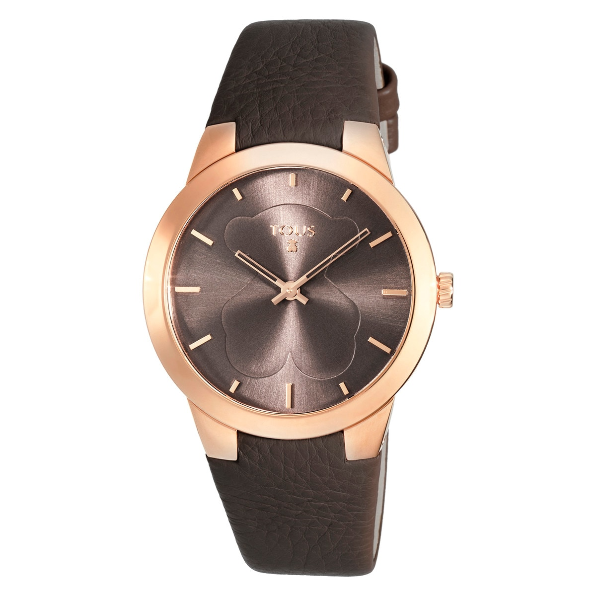 ef31229ea8d4 Pink IP Steel B-Face Watch with brown Leather strap - Tous Site US