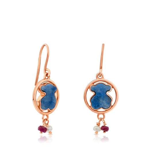 Rose Vermeil Silver Camille Earrings with Quartz with Dumortierite, Ruby, and Pearl