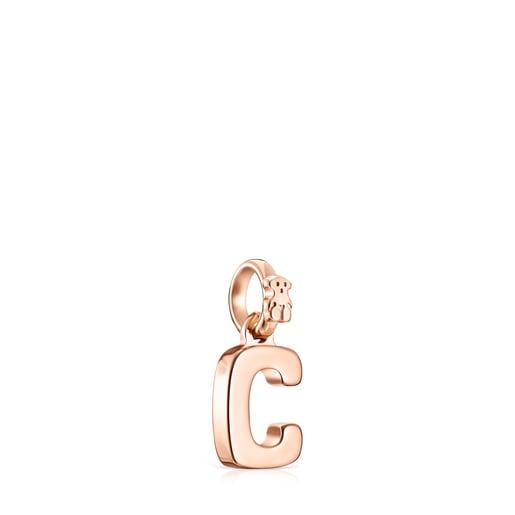 Colgante letra C de plata vermeil rosa Alphabet