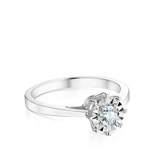 Anell Les Classiques gran d'Or blanc i Diamants