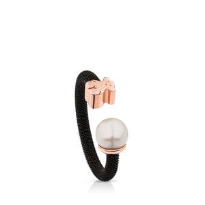 Steel and Rose Vermeil Silver Icon Mesh Ring with Pearl