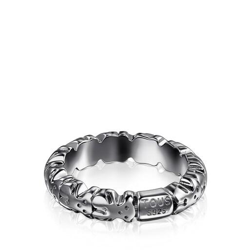 Anillo Straight XL de plata dark silver