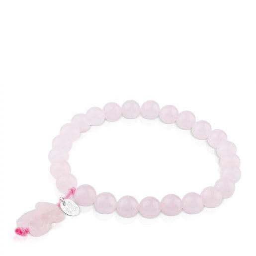 Pulsera TOUS Color de Plata y cuarzo rosa