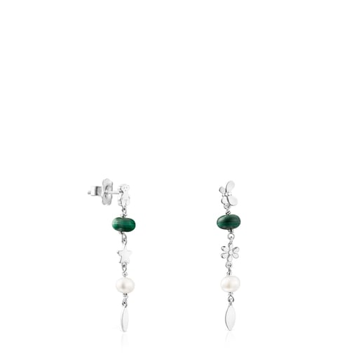 Silver Fragile Nature Earrings with Gemstones