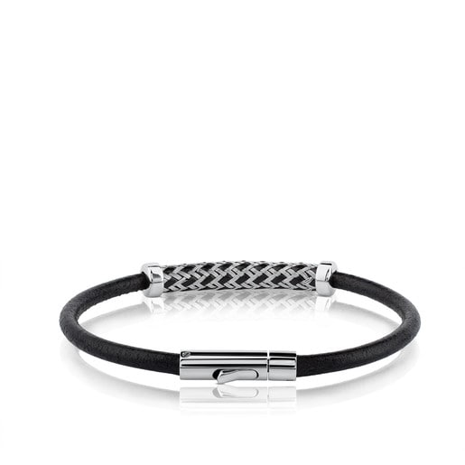 Stainless Steel TOUS Man Bracelet with leather