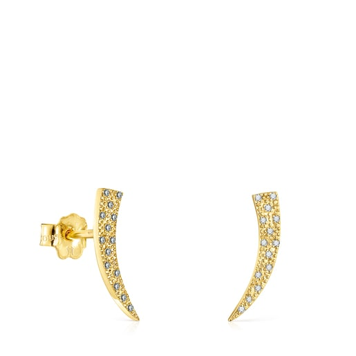 Gold TOUS Good Vibes cornucopia Earrings with Diamonds