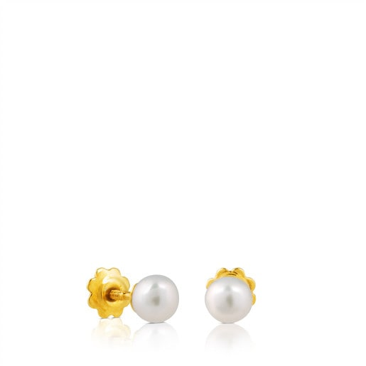 Gold Baby TOUS Earrings with pearls