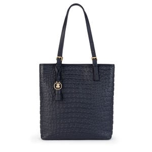Navy blue Leather Sherton Shopping bag